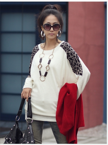 Women Ladies' Leopard Print Long Casual Loose Top Tunic Splicing T-shirt