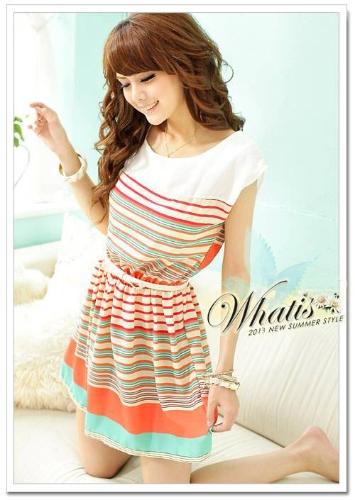 Moda rayas de colores de Gasa Mini partido Clubwear elástico Cintura femenina