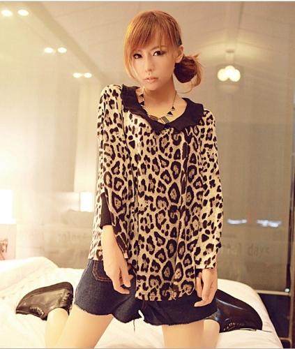 Moda mulheres senhoras t-shirt do Chiffon leopardo T camisa Batwing manga elástica punhos soltos no máximo