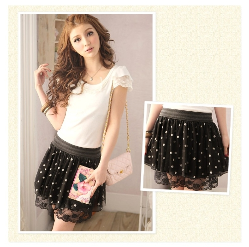 Moda verano mujeres falda de Gasa y encaje lunares plisado Mini falda cintura elástico hermosa falda corta negra
