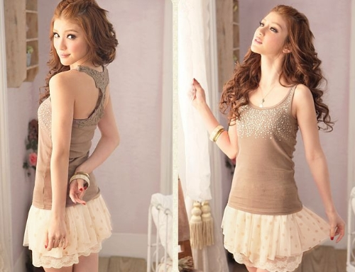 Moda verano mujeres falda de Gasa y encaje lunares plisado Mini falda elástica cintura hermosa falda corta Beige