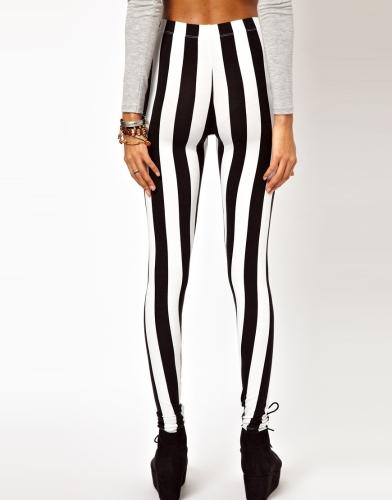 Sexy Fashion Women Leggings Black White Vertical Stripe Zebra Stretchy Tights Pants