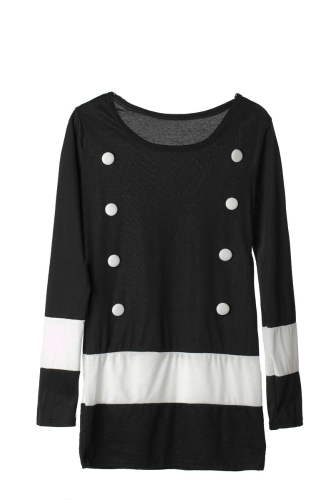 Nueva mujer Casual vestido manga larga doble Breasted raya una pieza Mini vestido negro