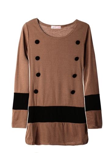 Uued vabaaja naiste kleit pikk varrukas Standard haalatud triip ühes tükis Mini kleit kohvi