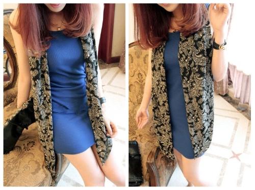 Neue Mode Frauen Lady Weste Kleid Slim Fit Mini Kleid Tank-Kleid mit Schal blau