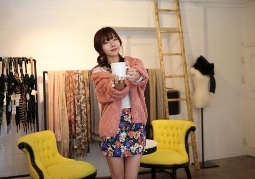 TOMTOP / Moda coreana mulheres Cardigan cor dos doces manga longa camisola malhas soltas casaco rosa