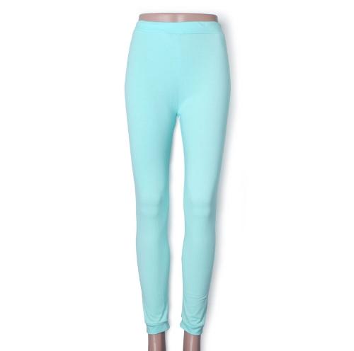 Nueva moda Color caramelo mujer polainas dama medias elásticas pantalones verde menta