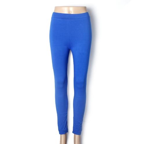 Nueva moda caramelo Color mujeres polainas dama medias elásticas pantalones azul marino