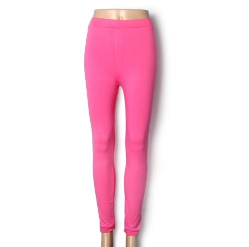 Nueva moda Color caramelo mujer polainas dama medias elásticas pantalones rosa