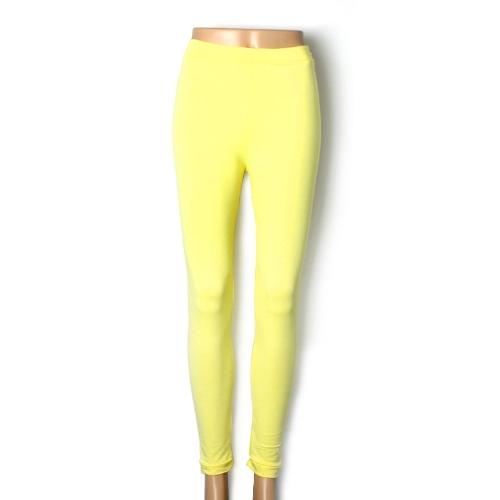 Nueva moda Color caramelo mujer polainas dama medias elásticas pantalones amarillo