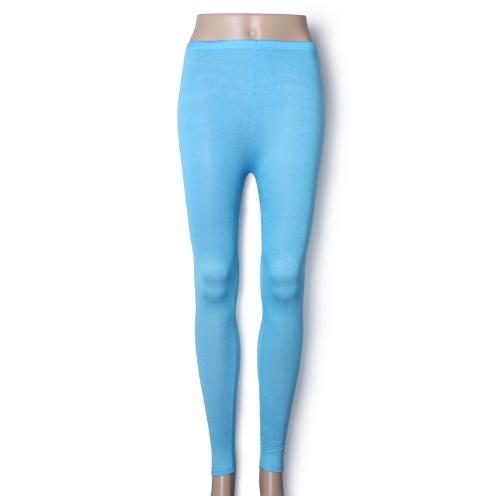 Neu Frauen Lady Leggings Candy Farbe Stretch Strumpfhose Hose Knöchel Länge See blau
