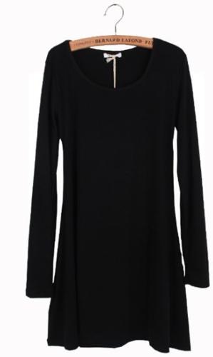 Novas mulheres vestem manga longa preto de lã macia vestido uma peça básica de moagem