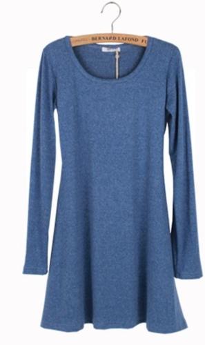 Nueva mujer vestido manga larga de lana suave Vestido de una pieza básico azul de pulido