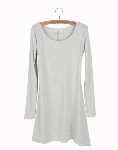 Nueva mujer vestido de manga larga gris claro de lana suave Vestido de una pieza básico de pulido