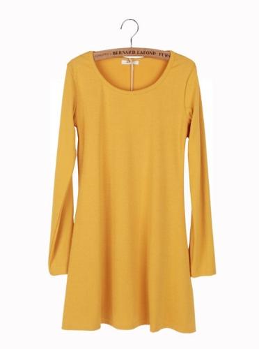 Nueva mujer vestido manga larga amarillo Vestido de una pieza básico suave lana de pulir