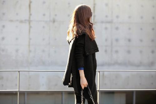 Fashion Women Cardigan Shawl Collar Solid Long Shrug Sweater OL Loose Coat Knitwear Black