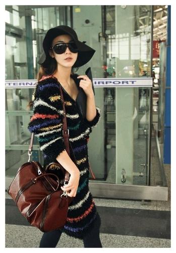 Fashion Women Cardigan Color Stripes Warm Long Plush Sweater Coat Outerwear