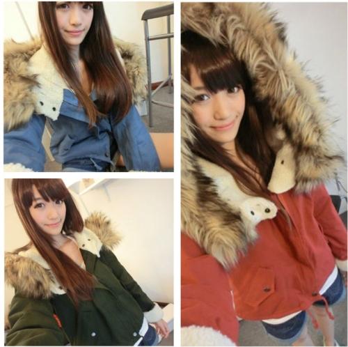 Moda mulheres peles artificiais de lã grossa Parka capuz Outwear Inverno casaco azul