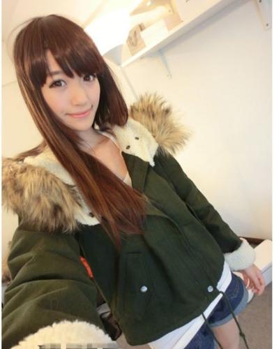 Moda mujer con capucha chaqueta de piel falsa lana gruesa Parka parka abrigo verde del ejército