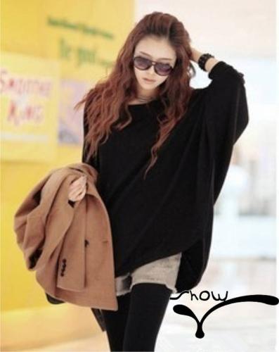 Mulheres casuais flanela malha camisa Scoop pescoço Batwing manga Pullover frouxo elástico preto