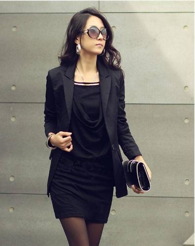 Fashion Women Mini Dress Long Sleeve Slim Sexy OL Dress One-piece Black