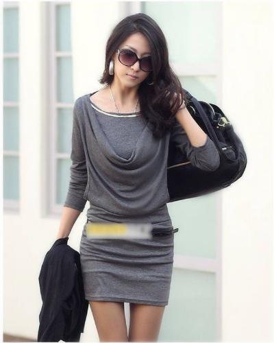Moda mujer vestido Mini manga larga OL Sexy Slim vestido una pieza gris
