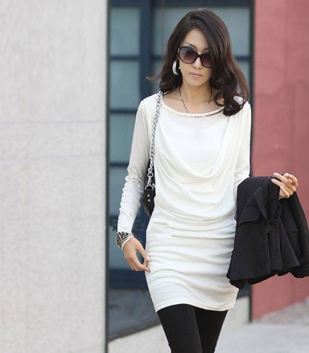 Mini vestido mujer manga larga moda Slim Sexy OL vestido blanco de una sola pieza