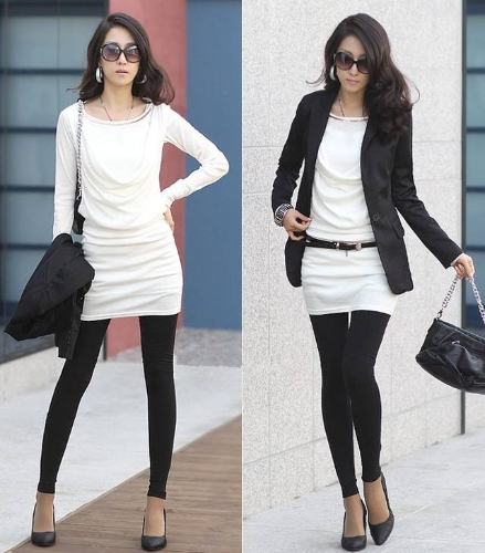 TOMTOP / Moda mulheres Mini vestido manga longa Slim OL Sexy vestido uma peça branca