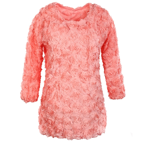 Fashion Women Dress 3D Rose Flower Mesh Lace Long Sleeve Mini Dress Pullover Tops Pink