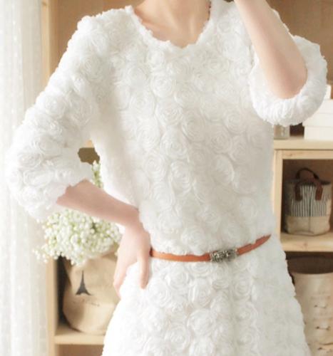 Tapas de moda mujeres vestido flor rosa 3D malla encaje manga larga jersey de Mini vestido blanco