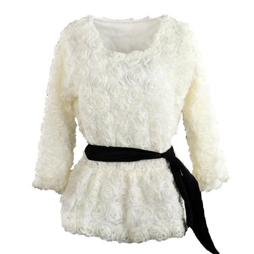 Mode Frauen Bluse 3D Rose Blume Mesh Lace elastische Taille Pullover Tops Beige