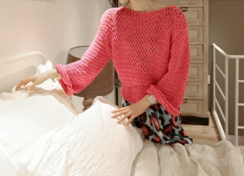 Fashion Women Knitted Sweater Runde Hals Langarm Pullover lose Top Jumper Rose