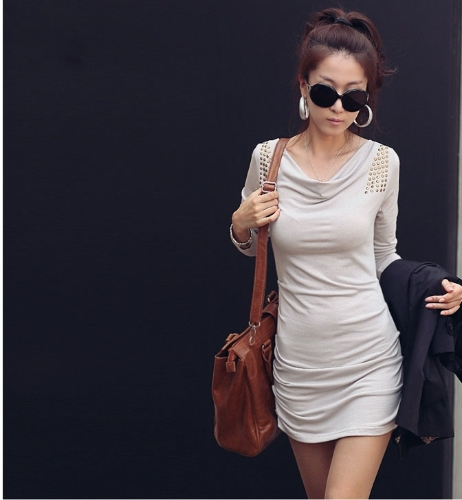 Fashion Women Mini Dress Long Sleeve Draped Neck Sequin Pencil Dress Light Grey