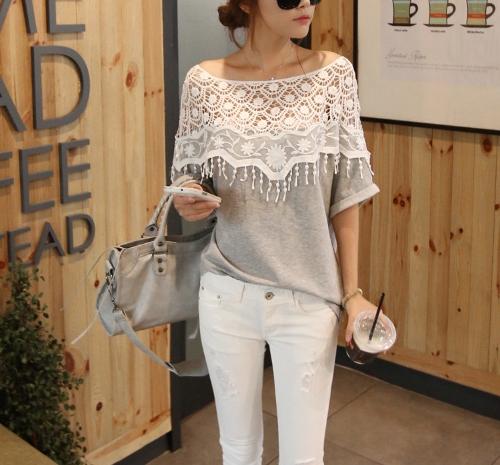 Tapas de moda mujeres blusa Crochet encaje manga del Batwing camisa bordado Slash cuello gris