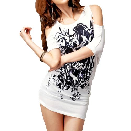 Fashion Women T-shirt Floral Print Off Shoulder Short Sleeve Long Tee Tops Mini Dress White
