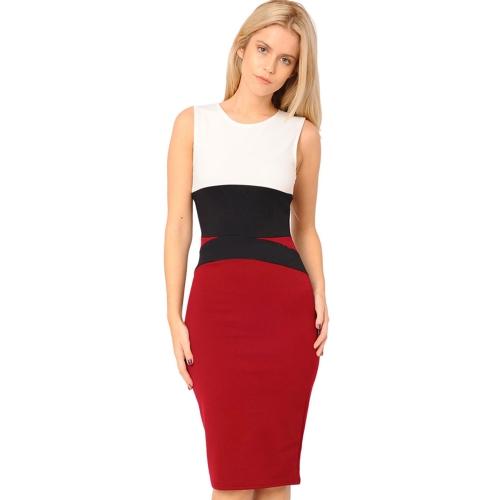 Neue Mode Frauen Kleid Farbe Block Bodycon ärmelloses elegantes Midi einteilig rot