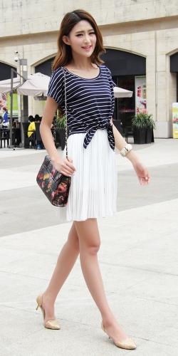 TOMTOP / Lindo moda mulheres Mini vestido de Chiffon plissado tanque vestido listrado t-shirt branca de duas peças