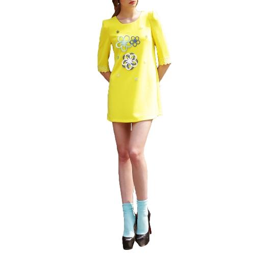 Moda mujer vestido Mini apliques cuello redondo cordón 3/4 manga vestido recto amarillo