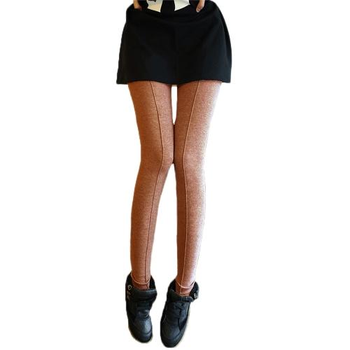 Nuevo diseño de línea media moda mujeres Leggings Color sólido delgado a Casual largo pantalón naranja
