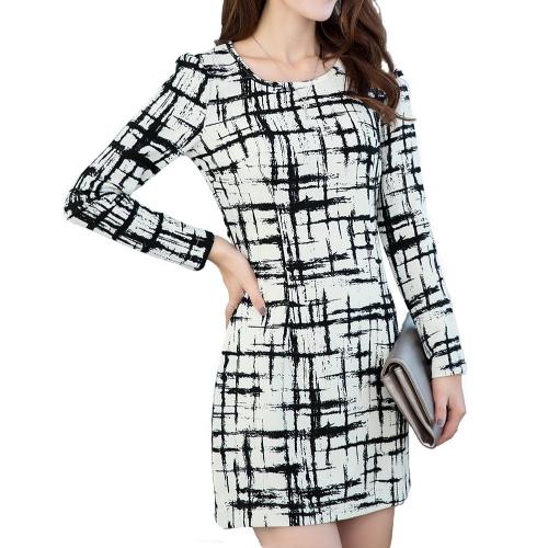Moda mujer delgado vestido Vintage Color bloque Plaid manga larga ronda cuello Mini vestido negro