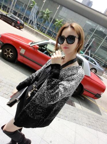 Nueva moda punto degradado Color mezclado Pocket media chaqueta Casual ropa de abrigo mujer