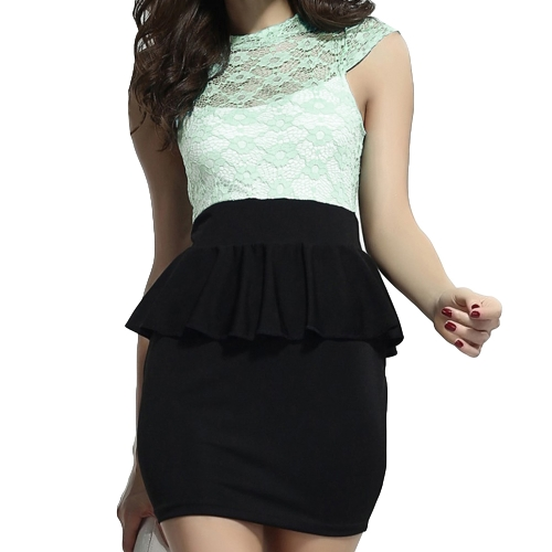 Sexy Women Dress Floral Lace Open Back Peplum Bodycon Mini Dress Red/Green