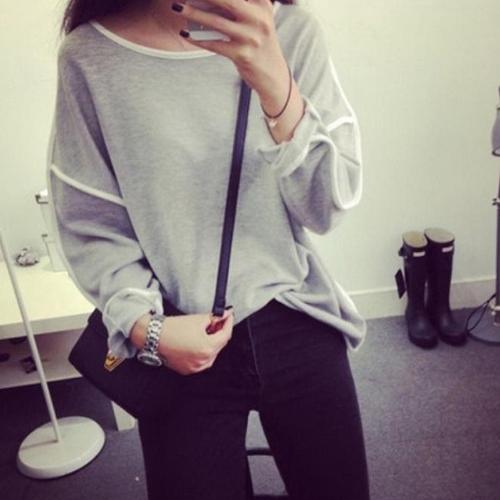 Nueva moda mujer camiseta larga alas de murciélago manga contraste línea redonda cuello suelto Top negro/blanco/gris