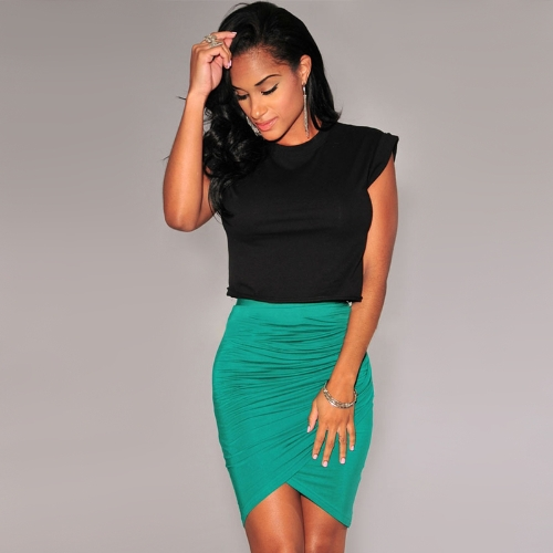 Nuova moda donna gonna Stretch drappeggiato gonna asimmetrica increspato Sexy Mini matita di vita alta nero/verde/rosa