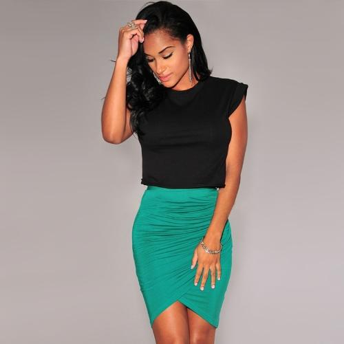 Nueva moda mujer falda Stretch vestido asimétrico acanalada Sexy Mini lápiz de cintura alta falda negro/verde/rosa