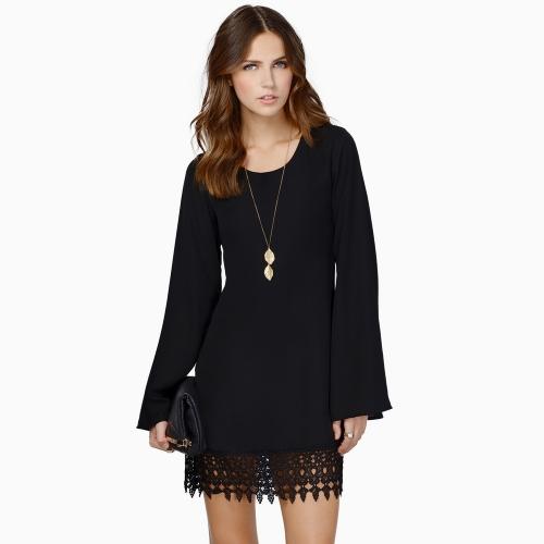Fashion Women Chiffon Shift Dress Crochet Lace Hem Long Sleeve Mini Dress Black/White