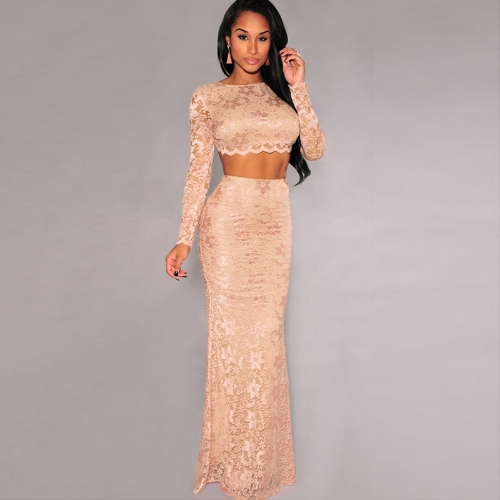 Sexy Women Lady Two-Pieces Floral Lace Open Back Long Sleeve Crop Top Elastic Waist Maxi Skirt Soft Lining