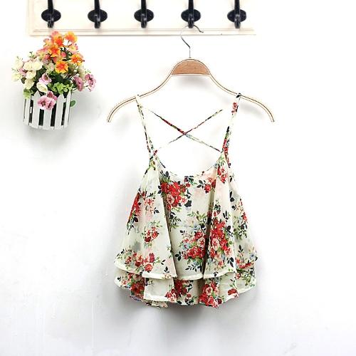 New Fashion Women Cami Top Double Chiffon Tiers Floral Print Spaghetti Strap Sleeveless Sexy Blouse