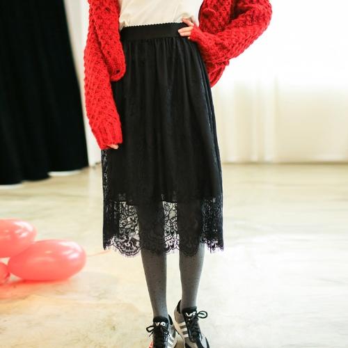 Nowe mody kobiet spódnica Sheer Floral Eyelash koronki elastyczny wysoki pasek Midi spódnica biały / czarny