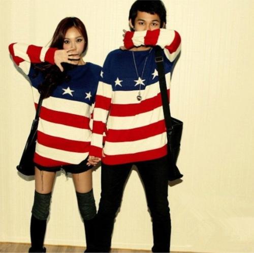 Fashion Women Men Knit Sweater American Flag Star Stripe Pullover Jumper Loose Top Lovers